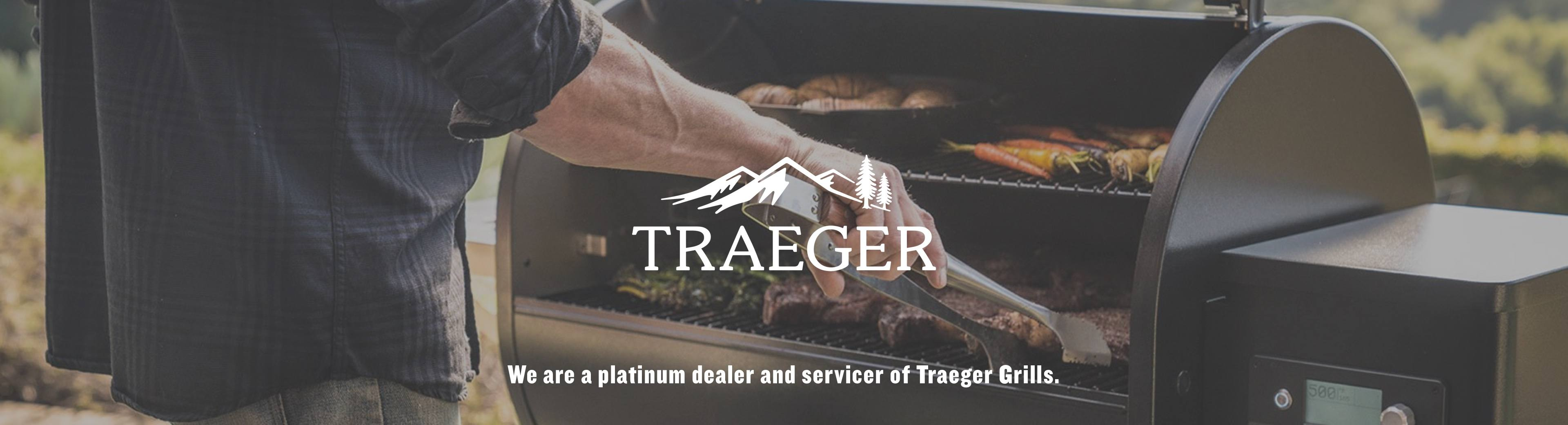 """Traeger Grill with logo - """"We are a platinum dealer and servicer of Traeger Grills."""""""