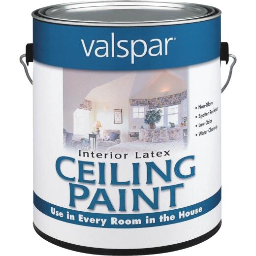 Valspar Latex Flat Ceiling Paint, White, 1 Gal.